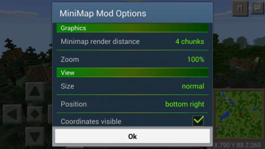 Мод Smooth Minimap - миникарта для Minecraft PE 0.15.6