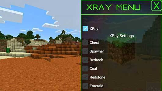 Мод X-Ray v1.0 для Minecraft PE