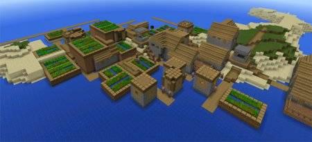 Сид на двойную деревню на островах для Майнкрафт ПЕ