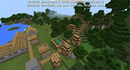 Сид с деревней у озера в Minecraft PE
