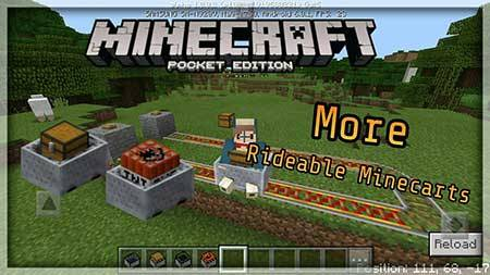Мод More Rideable Minecarts для Minecraft PE