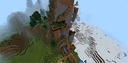 Деревня с кузницей в снегу mcpe 4