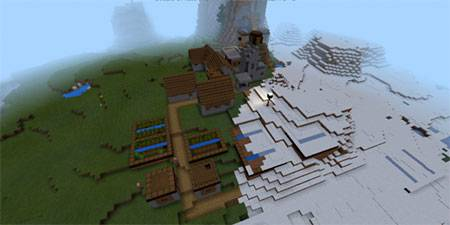 Деревня с кузницей в снегу mcpe 2