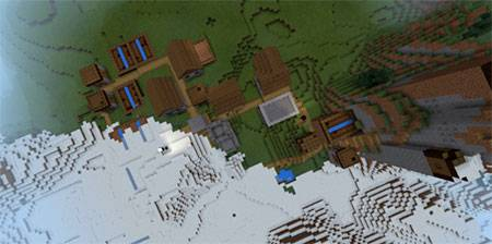 Деревня с кузницей в снегу mcpe 3