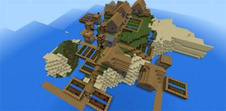 Маленькая деревня на острове mcpe 4