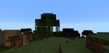 Деревня рядом с обрывистыми горами mcpe 1
