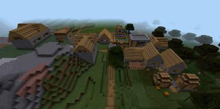 Деревня рядом с обрывистыми горами mcpe 2