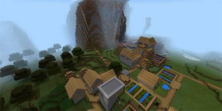 Деревня рядом с обрывистыми горами mcpe 3