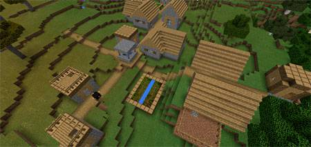 Double Village At Spawn mcpe 2