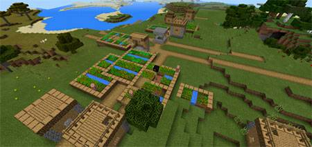 Double Village At Spawn mcpe 3