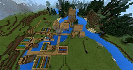 Ice Spikes Biome & A Village mcpe 2