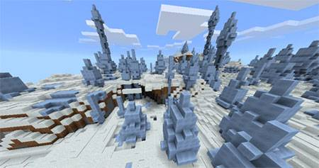 Ice Spikes Biome & A Village mcpe 4