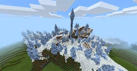 Ice Spikes Biome & A Village mcpe 3