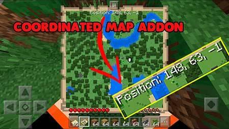 Мод Map Coordinates для Minecraft PE