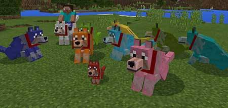Colorful Mutant Wolves mcpe 2