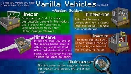 Vanilla Vehicles mcpe 6