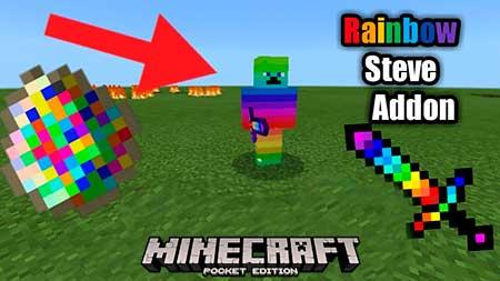 Мод Rainbow Steve для Minecraft PE
