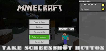 Мод Take Screenshot Button для Minecraft PE