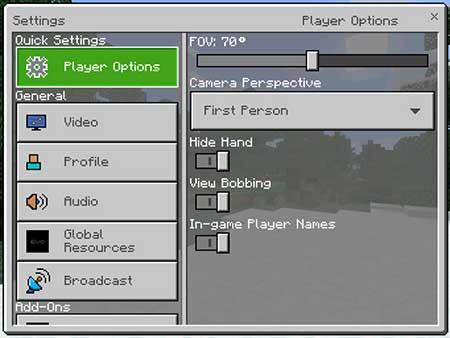 Мод Quick Settings для Minecraft PE