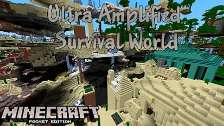 Карта Ultra Amplified Survival World для Minecraft PE