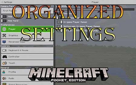 Текстуры Organized Settings для Minecraft PE