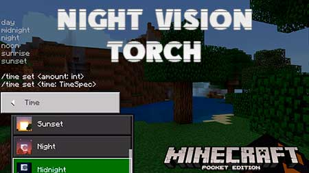 Мод Night Vision Torch для Minecraft PE