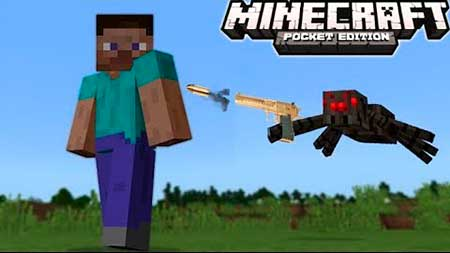 Мод Shooting Spiders для Minecraft PE