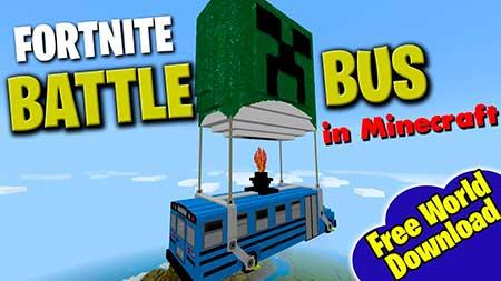 Мод Fortnite Battle Bus для Minecraft PE
