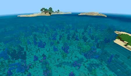 Сид 2104241268: Острова с коралловыми рифами и местом кораблекрушения mcpe 1