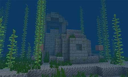 Сид 2104241268: Острова с коралловыми рифами и местом кораблекрушения mcpe 3