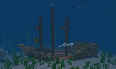 Сид 2104241268: Острова с коралловыми рифами и местом кораблекрушения mcpe 2