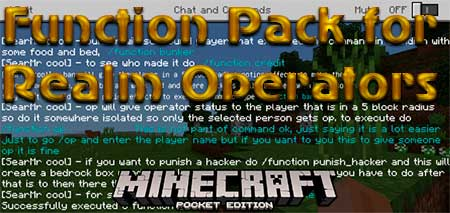 Мод Function Pack for Realm Operators для Minecraft PE
